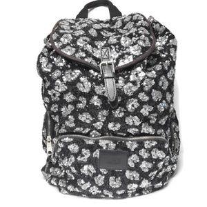 PINK VS Sequin Cheetah Backpack Black Silver
